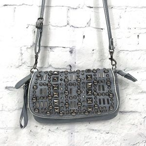 Studded Distressed Shoulder Crossbody Bag Wristlet